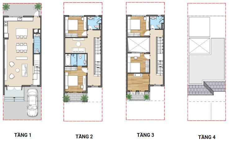 Thiết kế nhà phố liên kế dự án Senturia Nam Sài Gòn chủ đầu tư Tiến Phước Bình Chánh